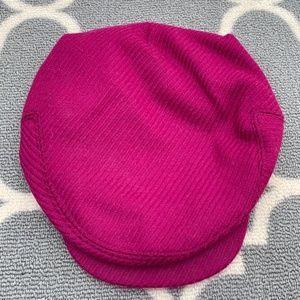 Raspberry Ann Taylor Wool Newsboy Hat - S/M